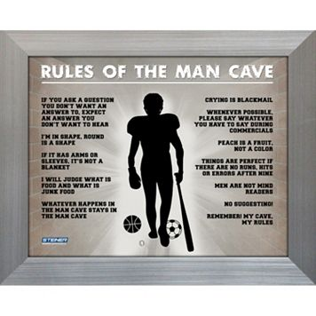 Steiner Sports Man Cave Rules Original 11'' x 14'' Framed Photograph