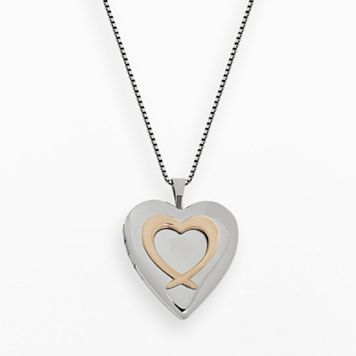 14k Rose Gold Over Silver & Sterling Silver Heart Locket