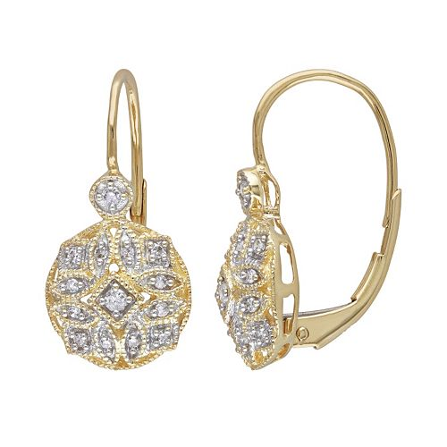 Miadora 14k Gold 1/8-ct. T.W. Round-Cut Diamond Drop Earrings