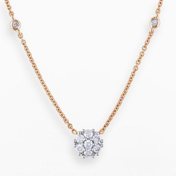 Miadora 14k Rose Gold 1/3-ct T.W. Round-Cut Diamond Necklace