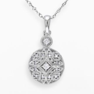 Miadora 14k White Gold 1/8-ct T.W. Round-Cut Diamond Geometric Pendant