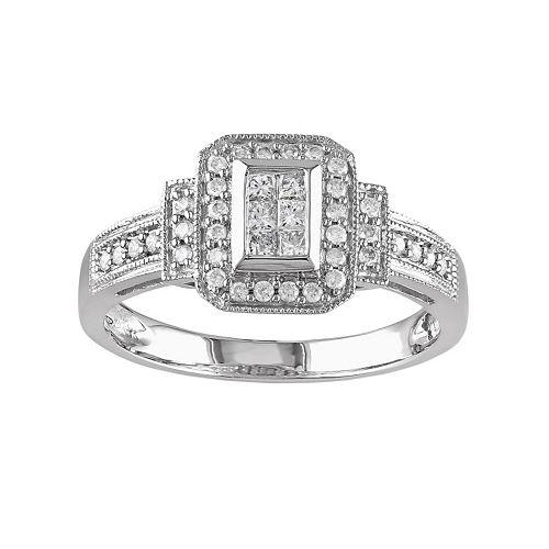 Miadora 14k White Gold 1/3-ct. T.W. Diamond Frame Ring