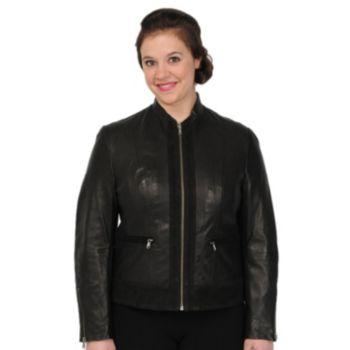 Women's Excelled Suede-Trim Leather Scuba Jacket