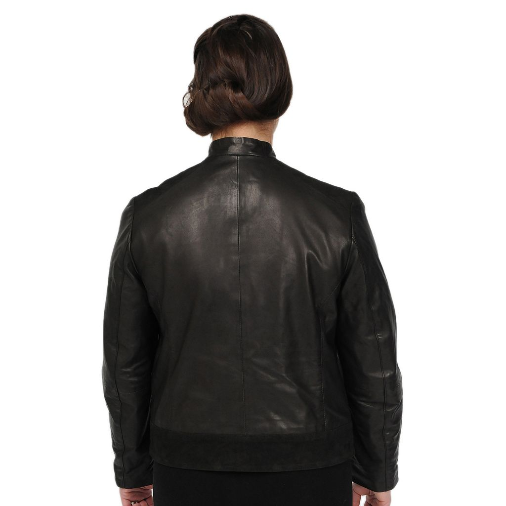 Women's Excelled Suede-Trim Leather Scuba Jacket