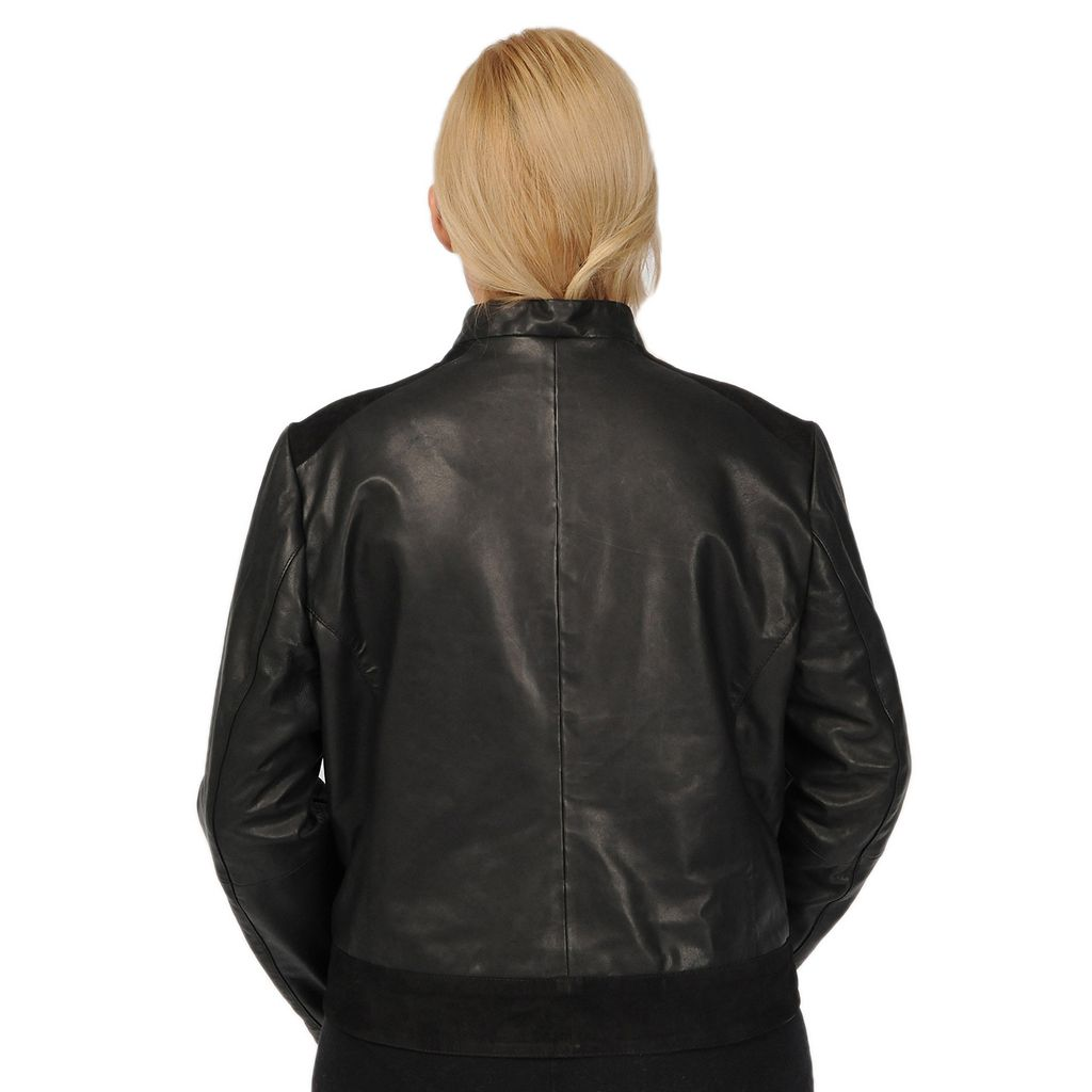 Plus Size Excelled Suede-Trim Leather Scuba Jacket