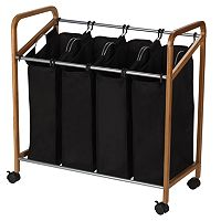 Household Essentials Rolling Quad Black Laundry Sorter