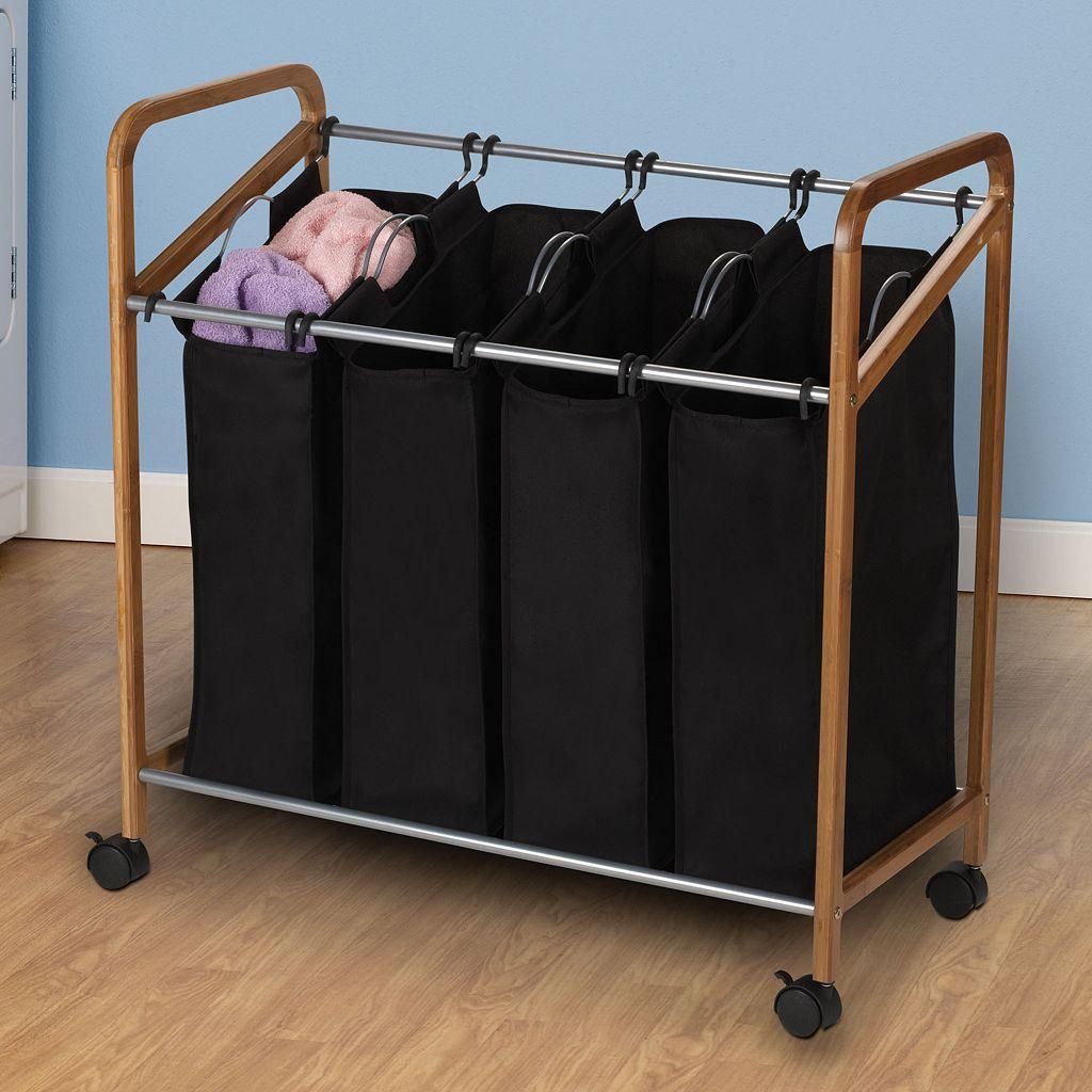 Household Essentials Rolling Quad Black Laundry Sorter