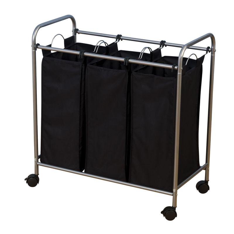 Household Essentials Rolling 3-Bag Laundry Sorter, Black