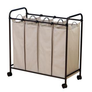 Household Essentials Rolling Quad Laundry Hamper