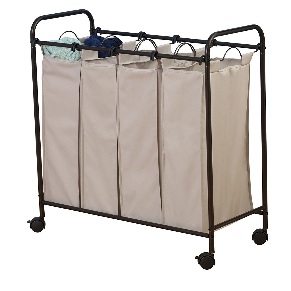 Household Essentials Rolling Quad Laundry Hamper