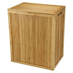 Household Essentials Folding Bamboo Laundry Hamper