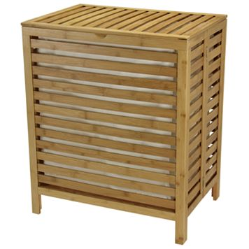 Household Essentials Bamboo Open-Slat Laundry Hamper