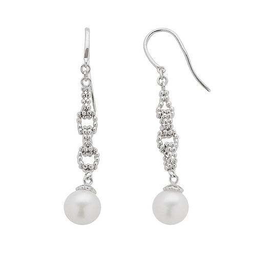 Sterling Silver Freshwater Cultured Pearl Linear Drop Earrings