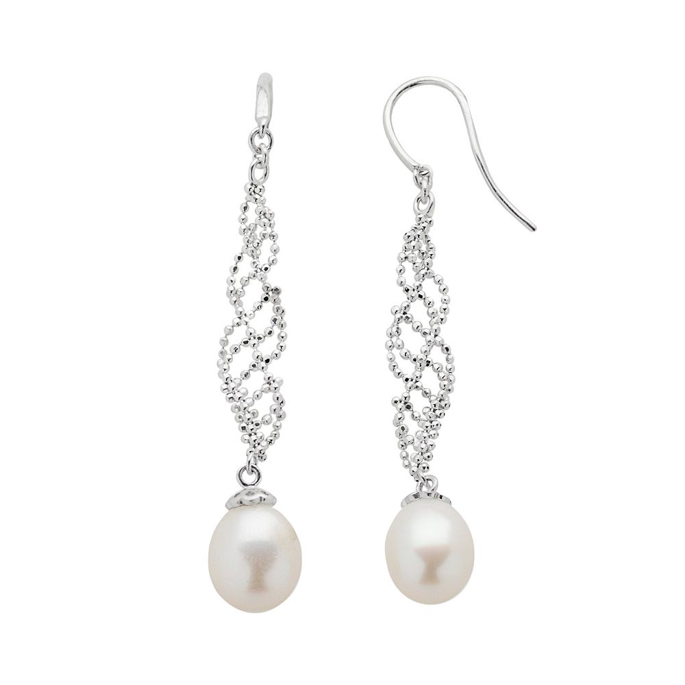 Sterling Silver Freshwater Cultured Pearl Swirl Linear Drop Earrings