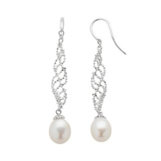 Sterling Silver Freshwater Cultured Pearl Swirl Linear Drop Earrings