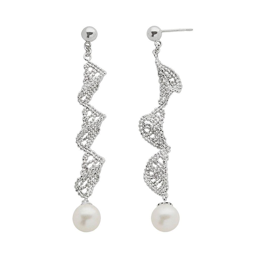 Sterling Silver Freshwater Cultured Pearl Twist Linear Drop Earrings