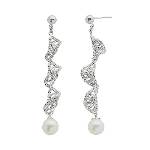 Sterling Silver Freshwater Cultured Pearl Twist Linear Drop Earrings