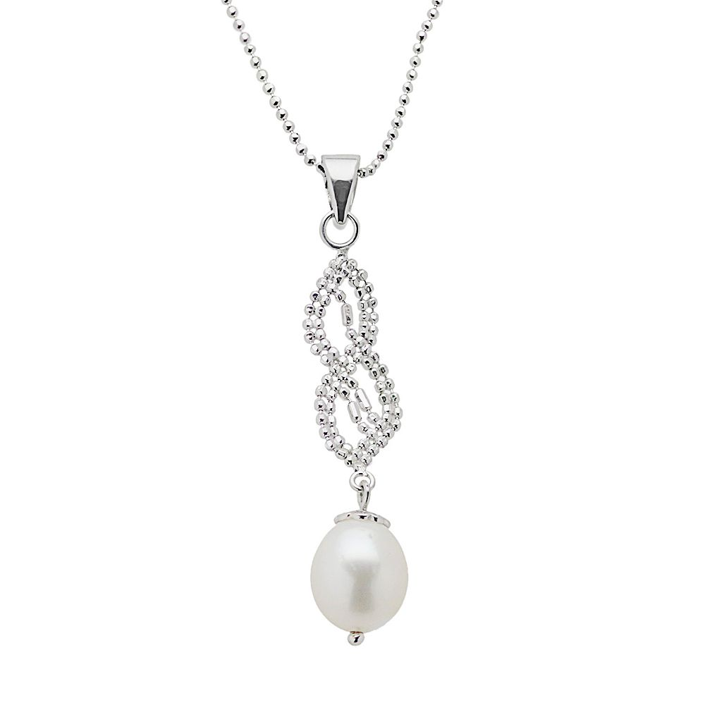 Sterling Silver Freshwater Cultured Pearl Twist Pendant