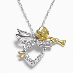 Diamond Petites 10k Gold Two Tone 1/10 ctT.W. Diamond Angel Pendant