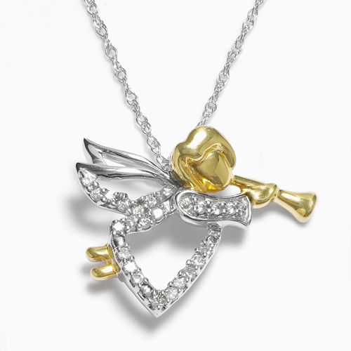 Diamond Petites 10k Gold Two Tone 1/10-ct. T.W. Diamond Angel Pendant