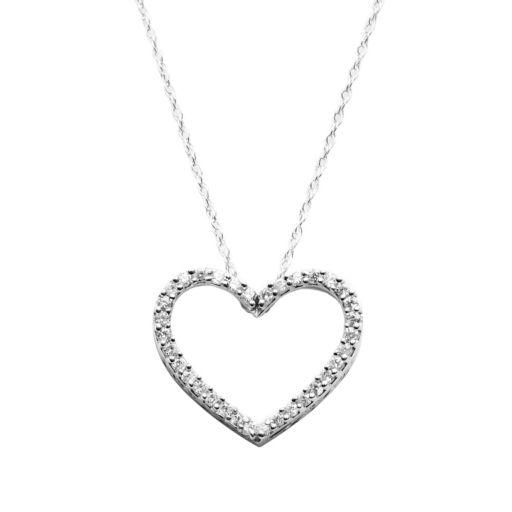 Diamond Petites 10k White Gold 1/10-ct. T.W. Diamond Heart Pendant