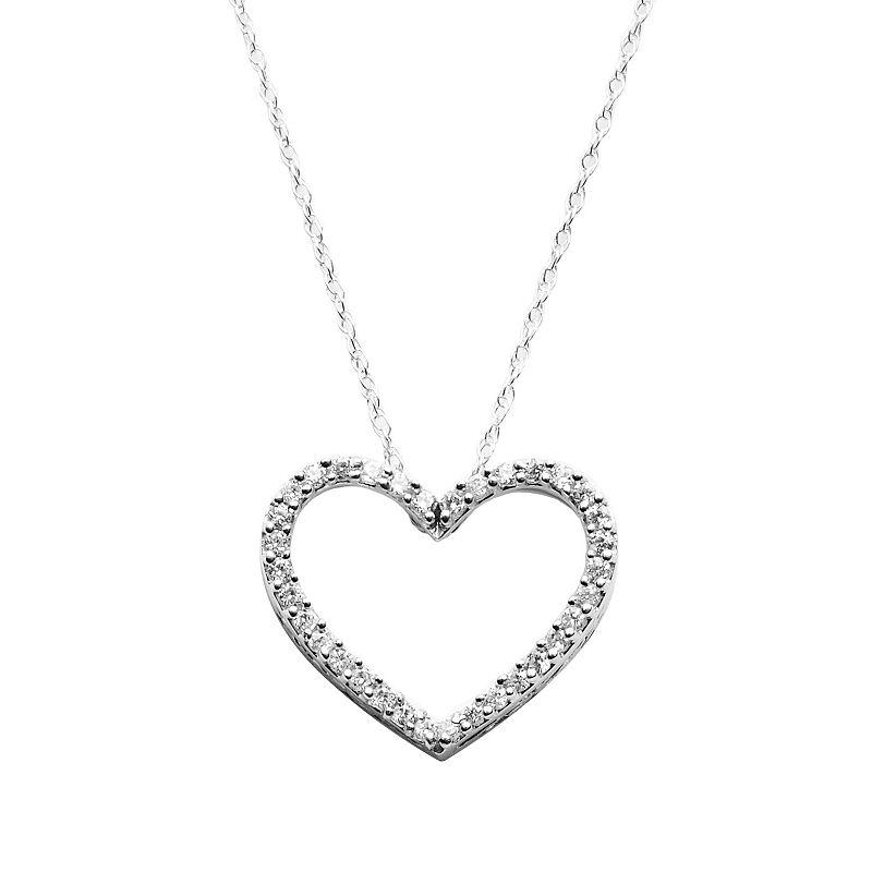 Diamond Petites 10k White Gold 1/10-ct. T.W. Diamond Heart Pendant, Women's