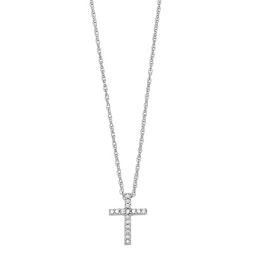 Diamond Petites 10k White Gold 1/10-ct. T.W. Diamond Cross Pendant