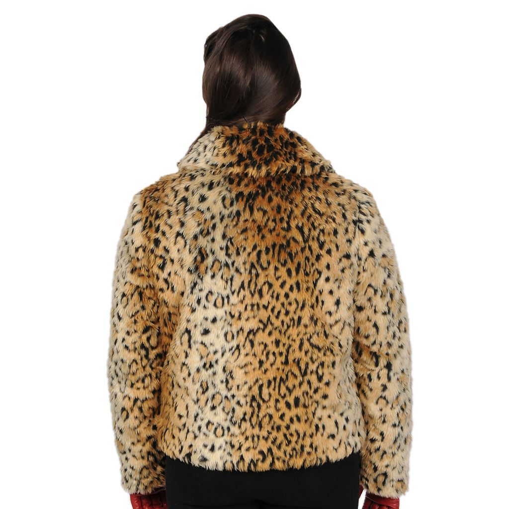 Excelled Leopard Faux-Fur Coat