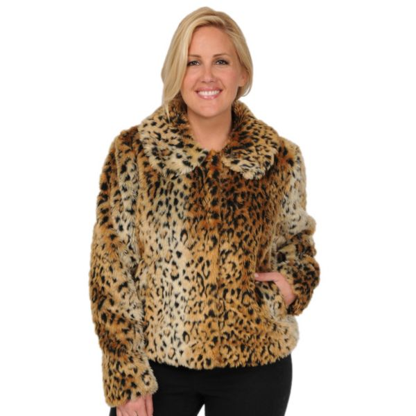 Excelled Leopard FauxFur Coat Women,s Plus