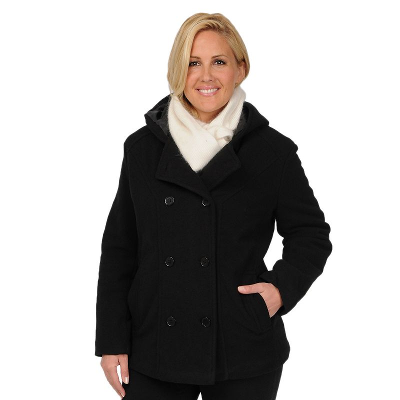 Excelled Hooded Peacoat - Women's Plus, Size: 1X (Black)