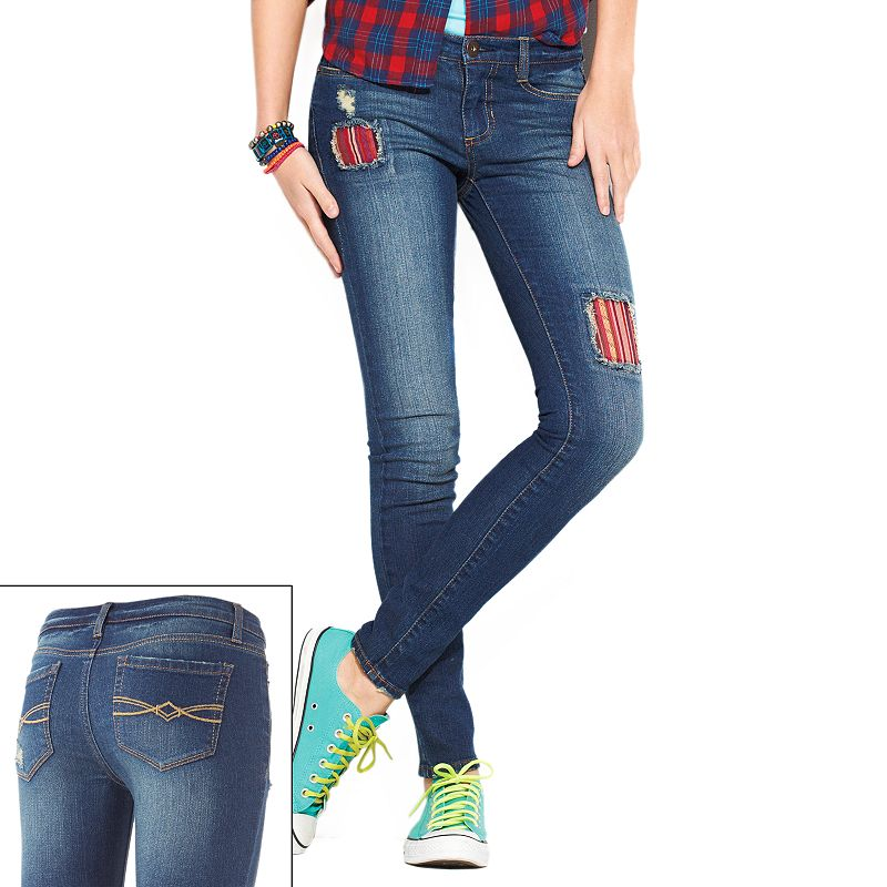 Mudd Patched Skinny Jeans - Juniors