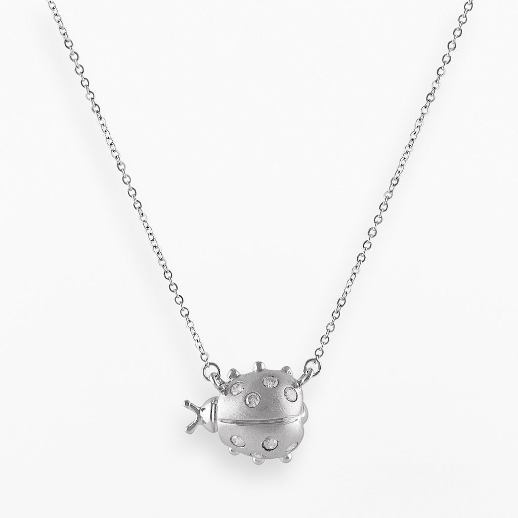 Sterling Silver .15-ct. T.W. Diamond Sideways Ladybug Necklace
