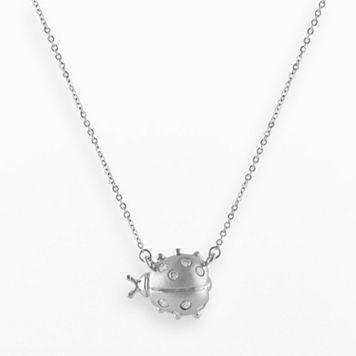 Sterling Silver .15-ct. T.W. Diamond Sideways Ladybug Necklace