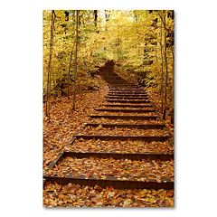 'Fall Stairway' 24' x 18' Canvas Wall Art by Kurt Shaffer
