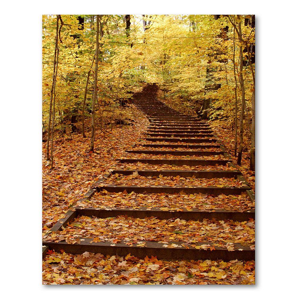 """Fall Stairway"" 47"" x 35"" Canvas Wall Art by Kurt Shaffer"