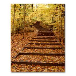 Fall Stairway 47 x 35 Canvas Wall Art by Kurt Shaffer
