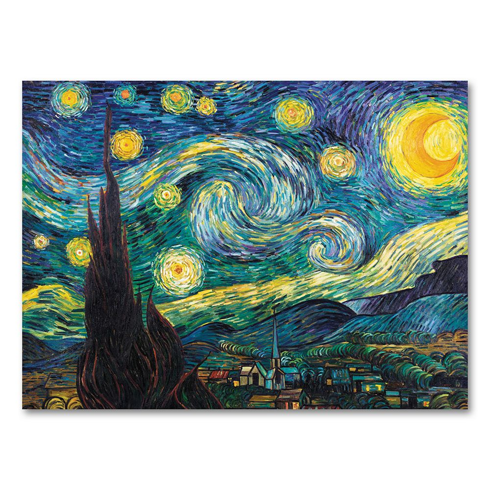 """""""Starry Night"""" 14"""" x 19"""" Canvas Wall Art by Vincent van Gogh"""