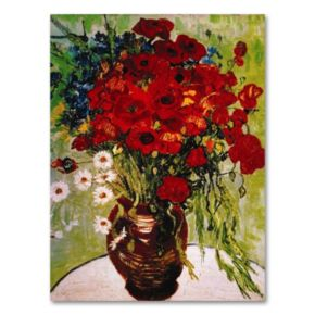Daisies and Poppies 24 x 18 Canvas Wall Art by Vincent van Gogh