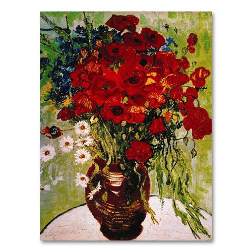 """Daisies & Poppies"" 24"" x 18"" Canvas Wall Art by Vincent van Gogh"