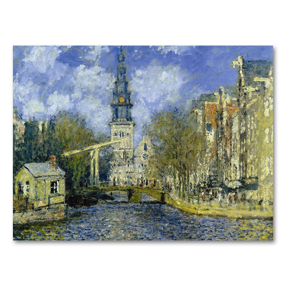 """The Zuiderkerk at Amsterdam"" 24"" x 32"" Canvas Wall Art by Claude Monet"