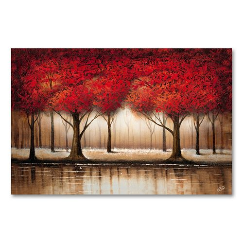 """""""Parade of Red Trees"""" 16"""" x 24"""" Canvas Wall Art by Rio"""