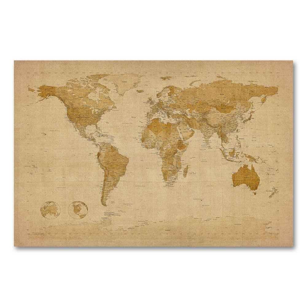 Antique World Map\'\' Canvas Wall Art by Michael Tompsett
