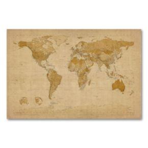 Antique World Map Canvas Wall Art by Michael Tompsett