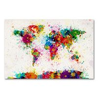 ''Paint Splashes World Map'' Canvas Wall Art by Michael Tompsett