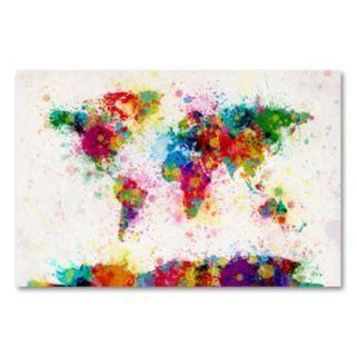 Paint Splashes World Map Canvas Wall Art by Michael Tompsett