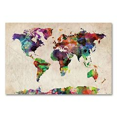 ''Urban Watercolor World Map'' Canvas Wall Art by Michael Tompsett
