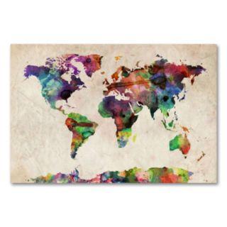 Urban Watercolor World Map Canvas Wall Art by Michael Tompsett