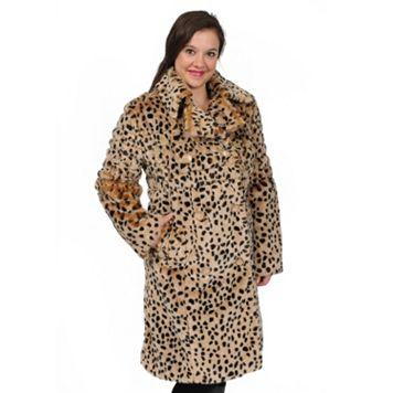 Excelled Cheetah Faux-Fur Coat