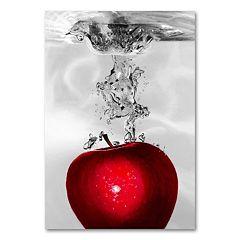 'Red Apple Splash' Canvas Wall Art by Roderick Stevens