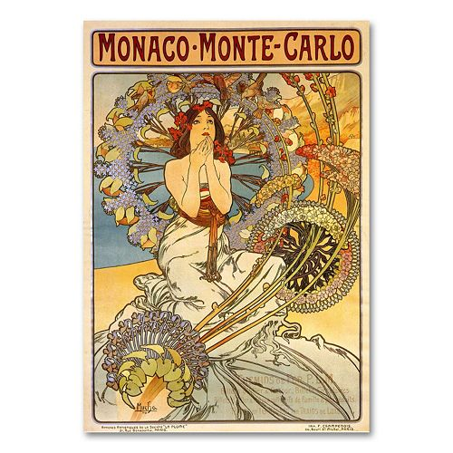 """Monaco-Monte Carlo"" by Alphonse Mucha Canvas Wall Art"